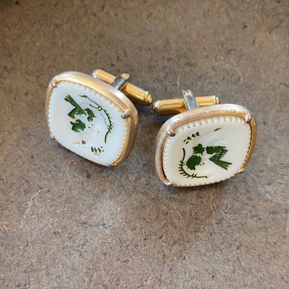 Vintage Other - Vintage Square Cufflinks Green White
